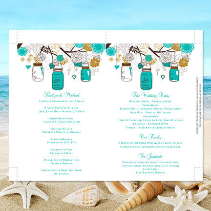 Wedding Program Fan Rustic Mason Jars Gold Robin's Egg Blue