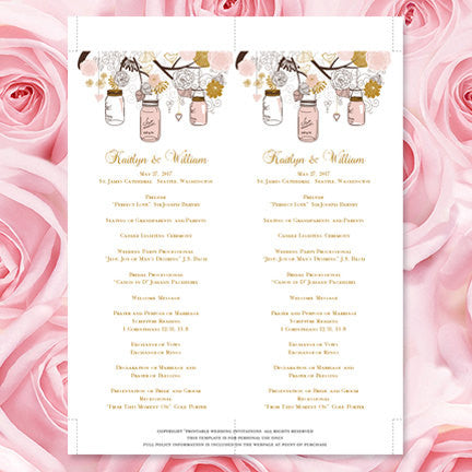 Slim Wedding Program Rustic Mason Jars Blush Pink Gold