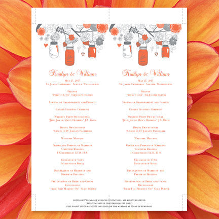 Slim Wedding Program Rustic Mason Jars Coral Gray