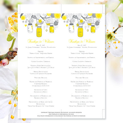 Slim Wedding Program Rustic Mason Jars Yellow Gray