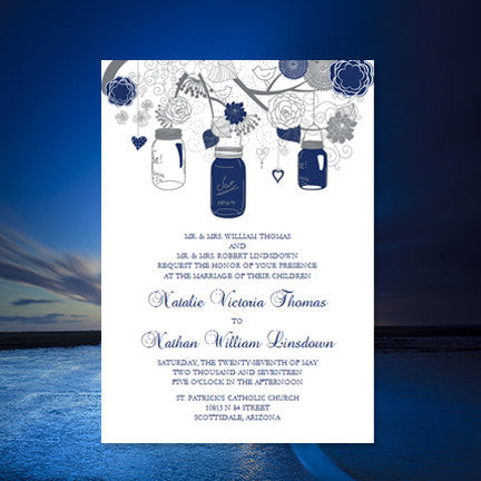 Rustic Mason Jars Wedding Invitation Navy Blue Gray