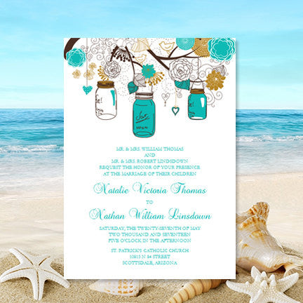 Rustic Mason Jars Wedding Invitation Robin's Egg Turquoise Blue Gold