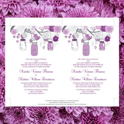 Rustic Mason Jars Wedding Invitation Plum Purple Lavender