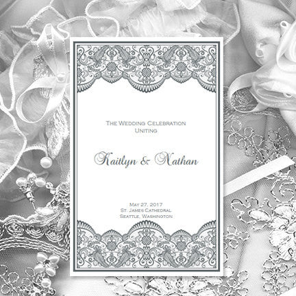 Wedding Program Template Vintage Lace Medium Gray