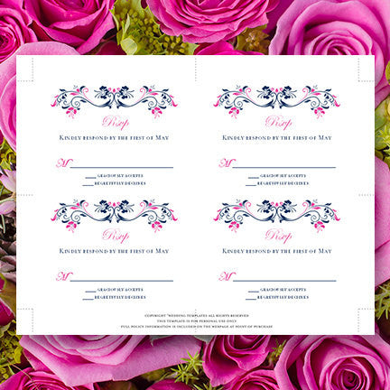 Wedding Response Cards Annabelle Navy Blue Fuchsia Pink