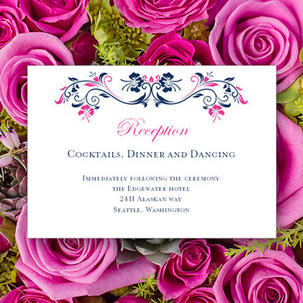 Wedding Reception Invitations Annabelle Navy Blue Hot Fuchsia Pink