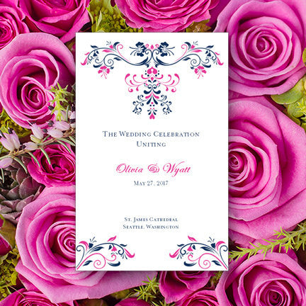 Wedding Program Template Annabelle Navy Blue Fuchsia Hot
