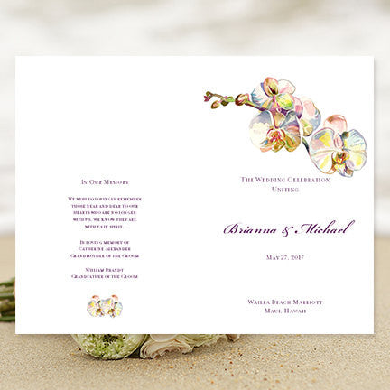 Wedding Program Template Watercolor Orchid