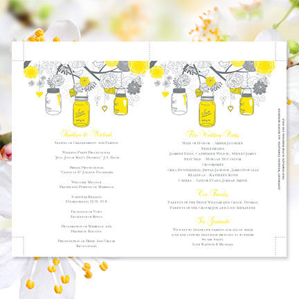 Wedding Program Fan Rustic Mason Jars Lemon Yellow Gray