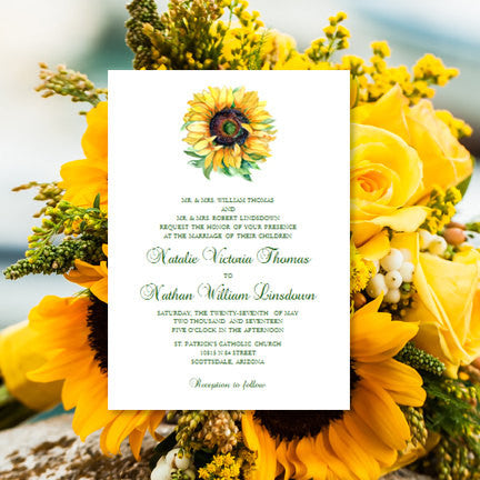 sunflower wedding invitation yellow green wedding template shop