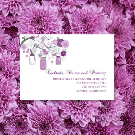 Wedding Reception Invitations Rustic Mason Jars Plum Purple Silver Gray