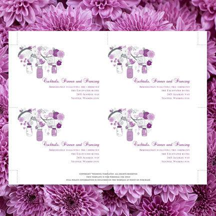 Wedding Reception Invitations Rustic Mason Jars Plum Purple Lavender
