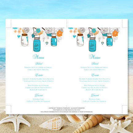 Wedding Reception Menu Template Rustic Mason Jars Blue Orange 5x7