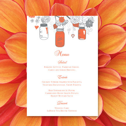 Wedding Reception Menu Template Rustic Mason Jars Coral Gray 5x7