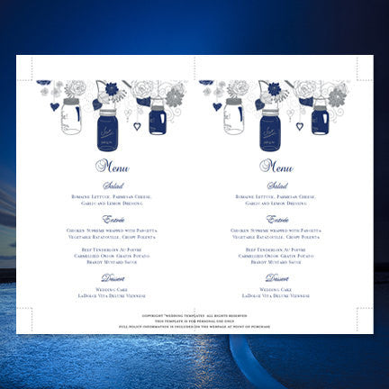 Wedding Reception Menu Template Rustic Mason Jars Navy Blue Gray 5x7