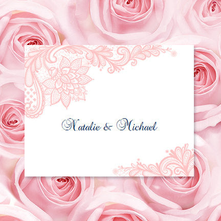 Wedding Thank You Card Vintage Lace blush Pink Navy