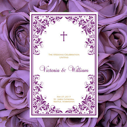 Catholic Church Wedding Program Kaitlyn Plum Purple w. Gold