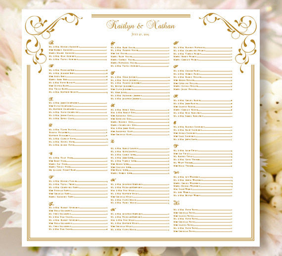Wedding Seating Plan Elegance Gold