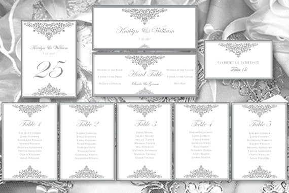 Wedding Seating Chart Set Anna Maria Gray