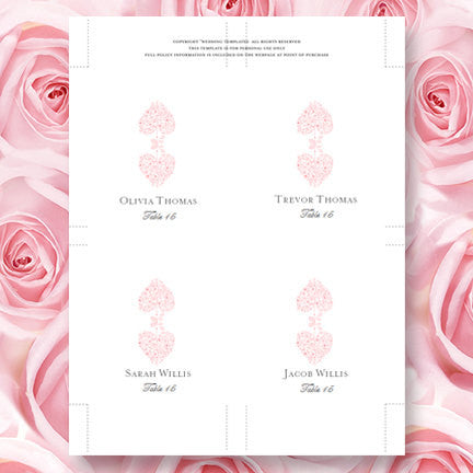 Wedding Seating Card Hearts Light Pink Tent