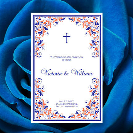 Catholic Church Wedding Program Kaitlyn Royal Blue Light Coral