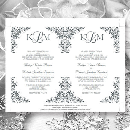 Kaitlyn Wedding Invitation Gray