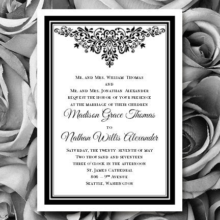 Wedding Invitations Templates Black White Anna Maria