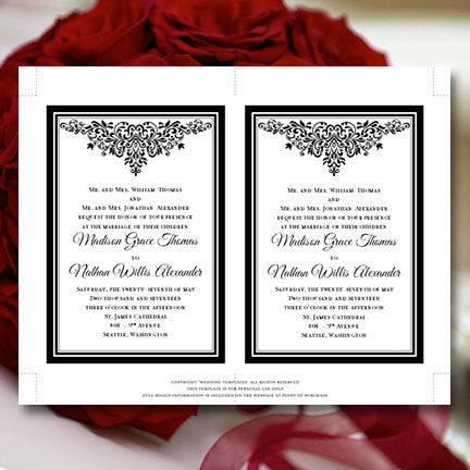 Anna Maria Wedding Invitation Black White Printable DIY