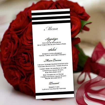 Wedding Menu Card Simply Stripes Black White Tea Length