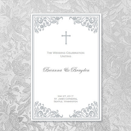 Catholic Church Wedding Program Faith Silver