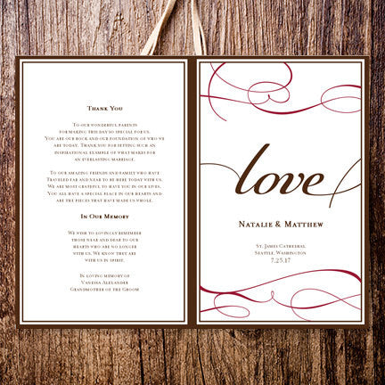 Wedding Program Template It's Love Chocolate Brown Red