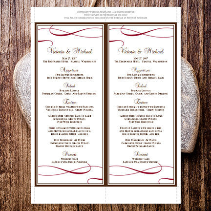 Wedding Menu Card It's Love Chocolate Brown Red Tea Length