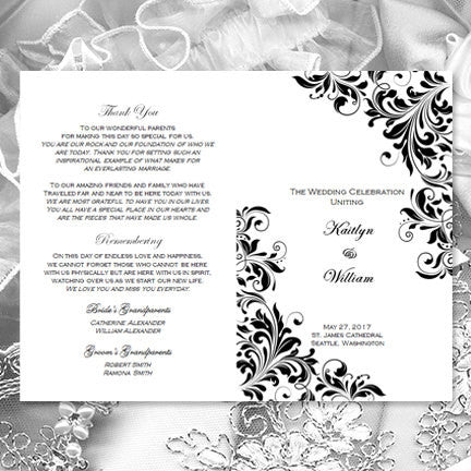 Catholic Church Wedding Program Kaitlyn Black White
