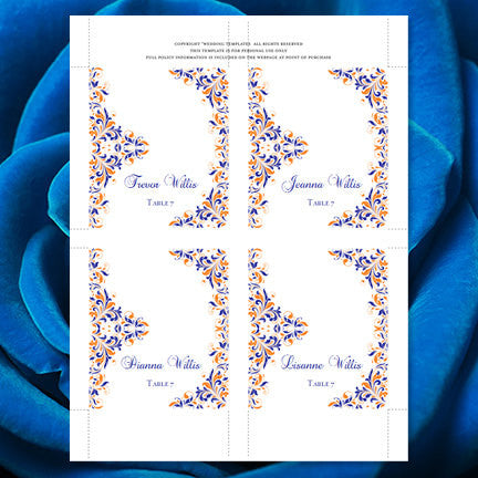 Wedding Seating Card Kaitlyn Royal Blue Orange Tent