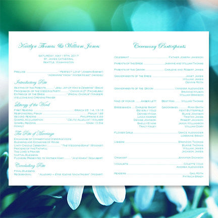 Catholic Church Wedding Program Kaitlyn Robin's Egg Blue