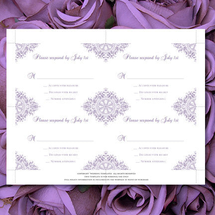 Wedding Response Cards Vintage Purple Lavender