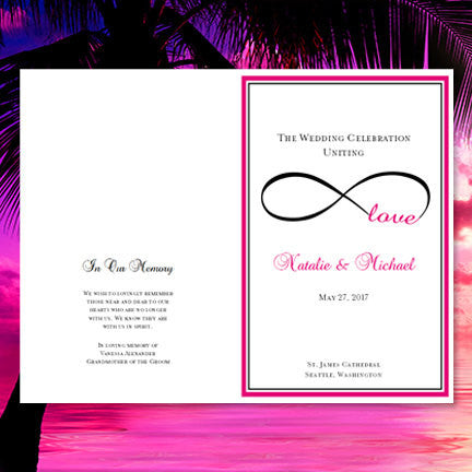 Wedding Program Template Infinity Love Hot Pink Black