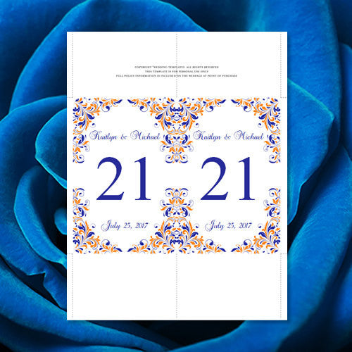 Wedding Table Number Template Kaitlyn Royal Blue Orange Flat