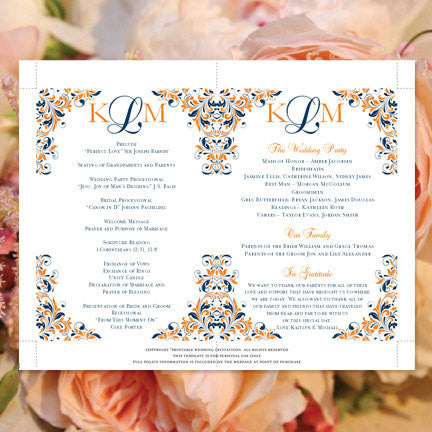 Wedding Program Fan Kaitlyn Navy Blue Orange Monogram