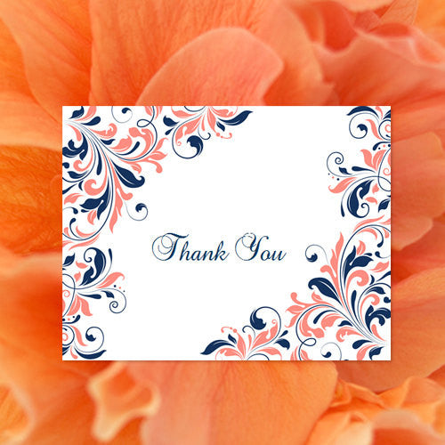 Wedding Thank You Card Kaitlyn Coral Navy Blue