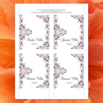 Wedding Seating Card Kaitlyn Coral Navy Blue Tent