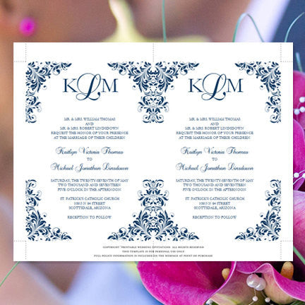 Kaitlyn Wedding Invitation Navy Blue