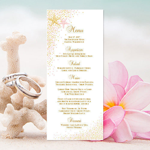 Wedding Menu Card Confetti Starfish Blush Pink Gold Tea Length