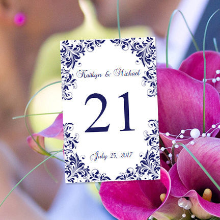 Wedding Table Number Template Kaitlyn Navy Blue Flat