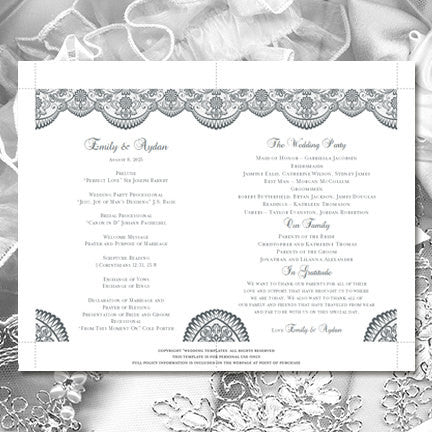 Wedding Program Fan Vintage Lace Medium Gray