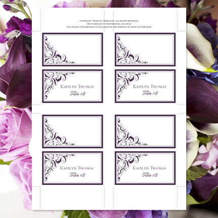 Wedding Seating Card Brooklyn Purple Silver Tent  sc 1 st  Wedding Template Shop : silver grande tent - memphite.com