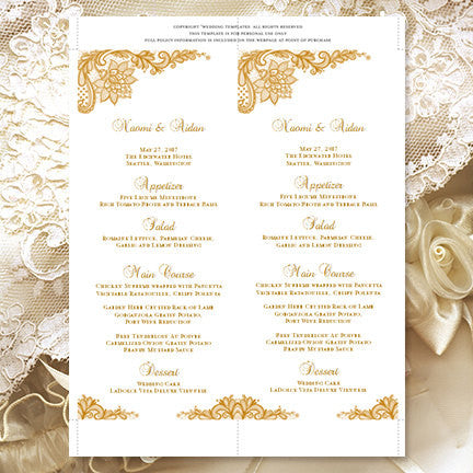 Wedding Menu Card Vintage Lace Gold Tea Length