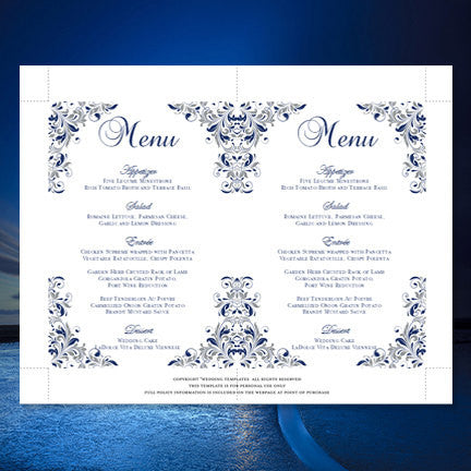 Wedding Reception Menu Template Kaitlyn Navy Blue Gray 5x7