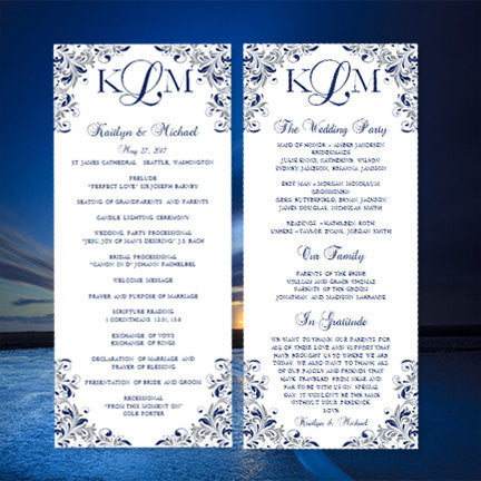 Slim Wedding Program Kaitlyn Navy Blue Gray