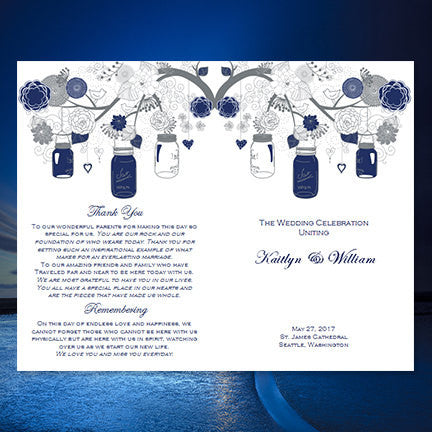 Catholic Church Wedding Program Rustic Mason Jars Navy Blue Gray